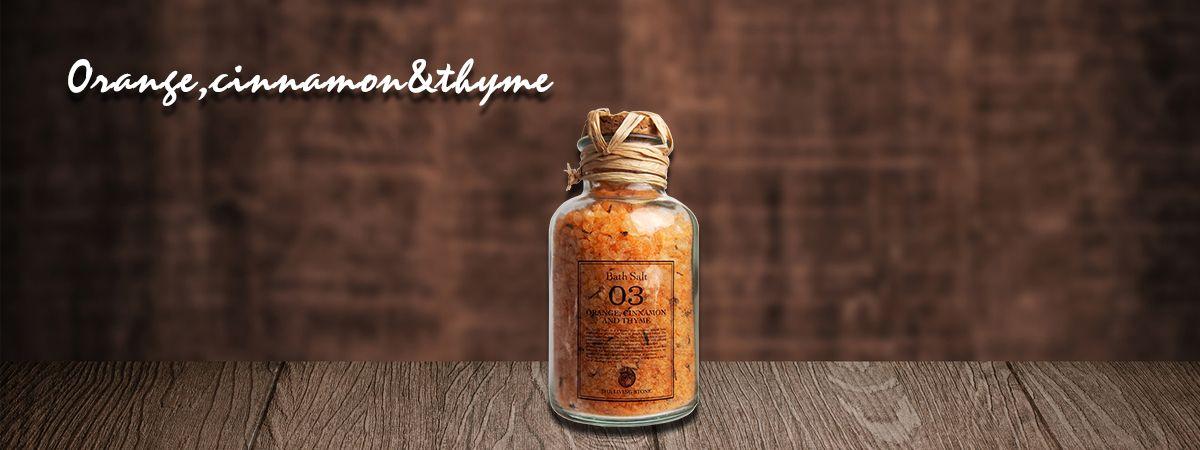 リビングストーン バスソルト オレンジ、シナモン&タイム